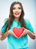 Red heart. Love symbol. Portrait of beautiful woman hold Valent Royalty Free Stock Photography