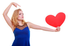 Red heart. Love symbol. Woman hold Valentine day symbol. Royalty Free Stock Images