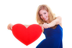 Red heart. Love symbol. Woman hold Valentine day symbol. Red heart card. Love symbol. Portrait beautiful woman hold Valentine day symbol. Cute blonde girl in stock photo