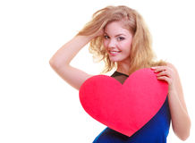 Red heart. Love symbol. Woman hold Valentine day symbol. Royalty Free Stock Photo
