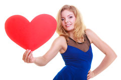 Red heart. Love symbol. Woman hold Valentine day symbol. Stock Images