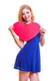 Red heart. Love symbol. Woman hold Valentine day symbol. Red heart card. Love symbol. Portrait beautiful woman hold Valentine day symbol. Cute blonde girl in stock images