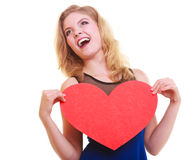 Red heart. Love symbol. Woman hold Valentine day symbol. Royalty Free Stock Photography