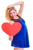 Red heart. Love symbol. Woman hold Valentine day symbol. Stock Photos