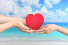 A red heart love symbol. Women holding a red heart love symbol stock photography