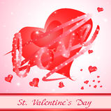 Red heart with love. valentine card Royalty Free Stock Photo