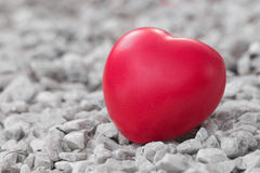 Red heart in love of Valentine's day with white stone background Royalty Free Stock Photography