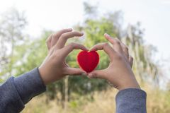 Red Heart and love on valentines day concept: Human handing big. Red heart over blurred nature background Royalty Free Stock Images