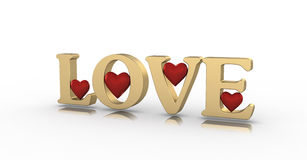 Red heart in LOVE word on white background Royalty Free Stock Images