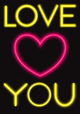 Red heart with Love You written. As neon tube Stock Photo