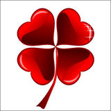 Red heart lucky clover Stock Photos