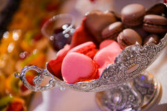 Red heart macarons Stock Image