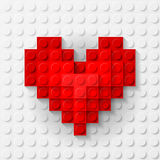 Red heart made of construction kit Royalty Free Stock Photo