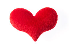 Red heart made of fur Stock Photo