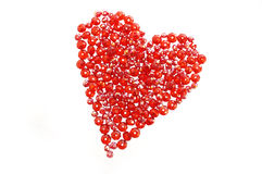 Red heart made from glass beads Royalty Free Stock Image