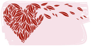 Red Heart made of Leaves Royalty Free Stock Image