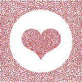 Red heart made of little hearts and little hearts around. Valentines Day background with many hearts Royalty Free Stock Photo