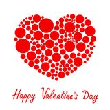 Red heart made from many round dots Love card Flat design Happy Valentines day Stock Photo