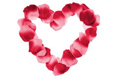 Red heart made from petals Royalty Free Stock Photography