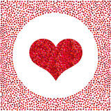 Red heart made of pixels and little hearts around. Valentines Day background  Royalty Free Stock Images