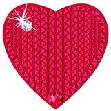 Red heart made from precious stones. Vector illustration of red ruby heart made from precious stones isolated on white Royalty Free Stock Images