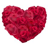 Red heart made of realistic roses. Royalty Free Stock Image