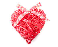 Red heart made of reed Royalty Free Stock Image