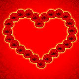 Red heart are made from roses Royalty Free Stock Images