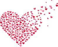 Red heart made of small confetti hearts Stock Photo