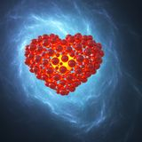 Red heart made of spheres with reflections  on blue galaxy space background. Happy valentines day 3d illustration.  Royalty Free Stock Image