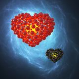 Red heart made of spheres with reflections  on blue galaxy space background. Happy valentines day 3d illustration.  Stock Photography