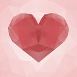 Red heart made of transparent triangles on a pink abstract geometric background. Royalty Free Stock Photos