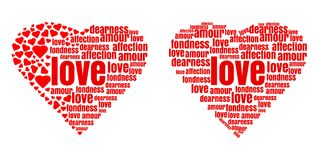 Red heart made up of words and small hearts. Love, amour, fondness, affection, dearness. Vector design elements for Valentines Day vector illustration