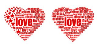 Red heart made up of words and stars. Love, amour, fondness, affection, dearness. Vector design elements for Valentines Day royalty free illustration
