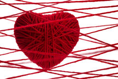 Red heart made from wool Stock Photos