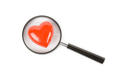 Red Heart and magnifier Royalty Free Stock Image