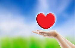 Red heart in man hand Royalty Free Stock Photos
