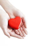 Red heart in man hands Royalty Free Stock Photos