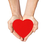 Red heart in man hands isolated on white Royalty Free Stock Photos