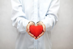 Red heart in man's hands Royalty Free Stock Photo