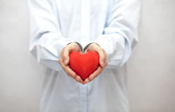 Red heart in man's hands Royalty Free Stock Image