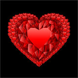 Red heart from many rubies Stock Image