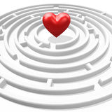 Red heart in maze. 3d red heart in the maze center Stock Image