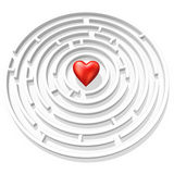 Red heart in maze. 3d red heart in the maze center Royalty Free Stock Image