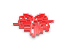 Red heart maze path. On white background Royalty Free Stock Photography