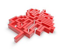 Red heart maze path. On white background Royalty Free Stock Images
