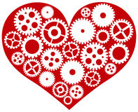 Red Heart with Mechanical Gears Illustration. Valentines Day Red Heart with Mechanical Gears Isolated on White Background Illustration stock illustration
