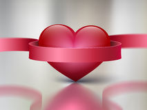 Red heart on metal background with reflection  rib Royalty Free Stock Image