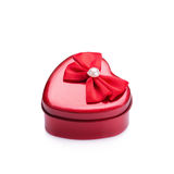 Red heart metal box on white background Stock Image
