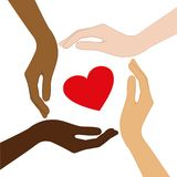 Red heart in the middle of human hands with different skin color stock illustration